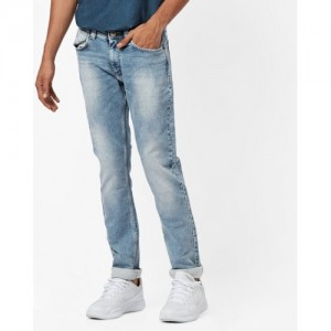 SPYKAR Heavily Washed Tapered Jeans
