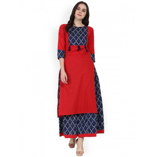 12731164a Buy Nayo Women Red   Blue Printed Kurta with Skirt online