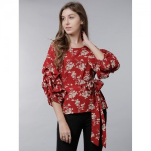 4c534263ffe Tokyo Talkies Women Red   Off-White Printed Cinched Waist Top