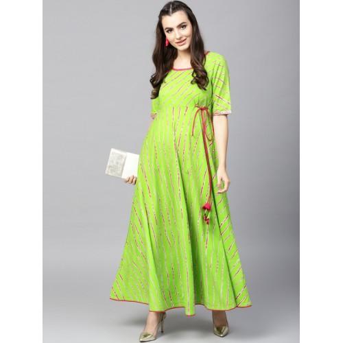 AKS Green & Magenta Cotton Leheriya Print Anarkali Kurta