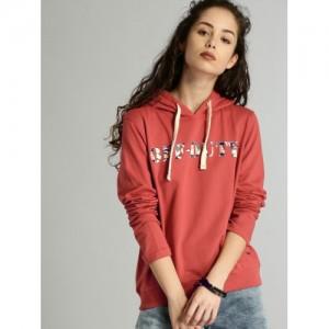 Roadster Women Red Cotton Printed Hooded Sweatshirt