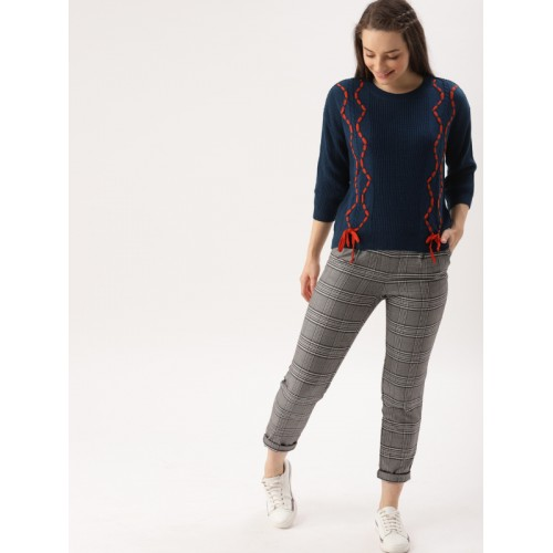 DressBerry Women Navy Blue Acrylic Solid Pullover