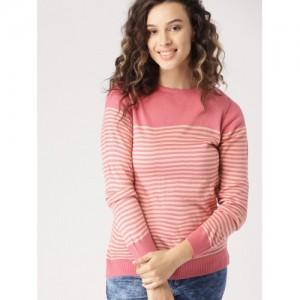 DressBerry Women Pink & Beige Acrylic Striped Sweater