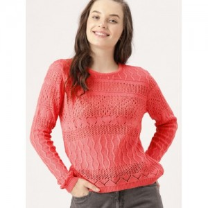 DressBerry Women Coral Pink Self Design Pullover