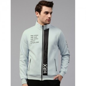 HRX by Hrithik Roshan Men Blue Cotton Blend Printed Sweatshirt
