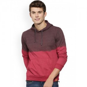 Campus Sutra Men Maroon & Brown Colourblocked Hooded Sweatshirt