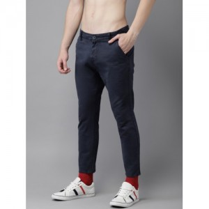HERE&NOW Men Navy Blue Cotton Elastane Slim Fit Solid Chinos