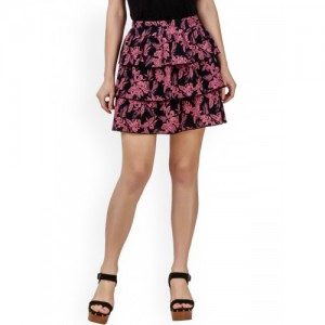 Texco Pink & Black Printed Tiered Mini skirt