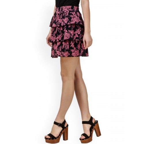 Texco Pink & Black Printed Tiered Mini skirt