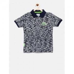 Lee Cooper Boys Navy Blue Self Design Polo Collar T-shirt