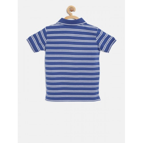 Lee Cooper Boys Blue & White Striped Polo Collar T-shirt