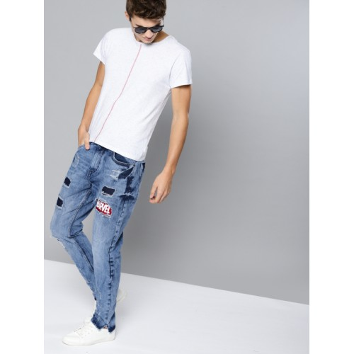 Kook N Keech Blue Regular Fit Mid-Rise Mildly Distressed Jeans