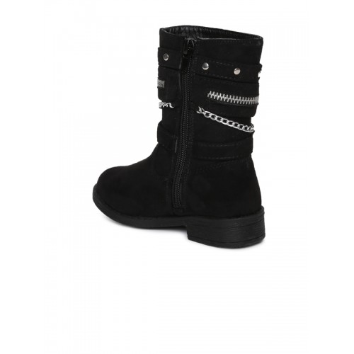 Kittens Black Solid Synthetic Leather High-Top Flat Boots