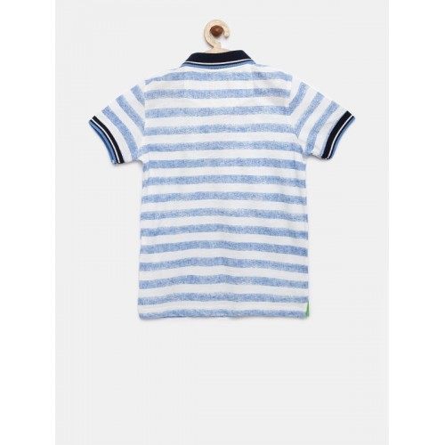 Lee Cooper Boys White & Blue Striped Polo T-shirt