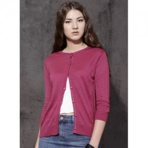 Roadster Pink Solid Long Sleeves Sweater
