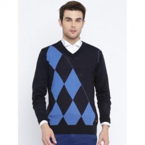 Raymond Men Navy Patterned Sweater