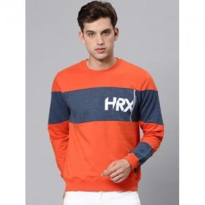 HRX by Hrithik Roshan Orange & Blue Cotton Colourblocked Sweatshirt