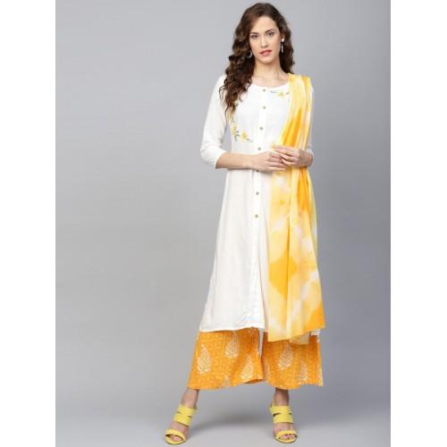 Yufta White & Yellow Viscose Rayon Embroidered Kurta with Palazzos & Dupatta
