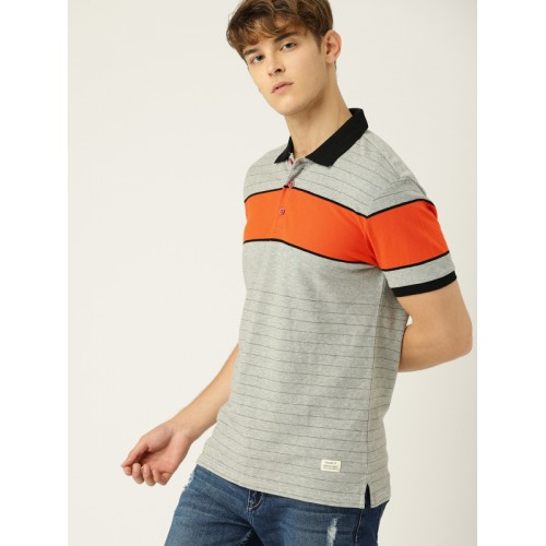 United Colors of Benetton Men Grey BOLD COLOR BLOCK Striped Polo Collar T-shirt