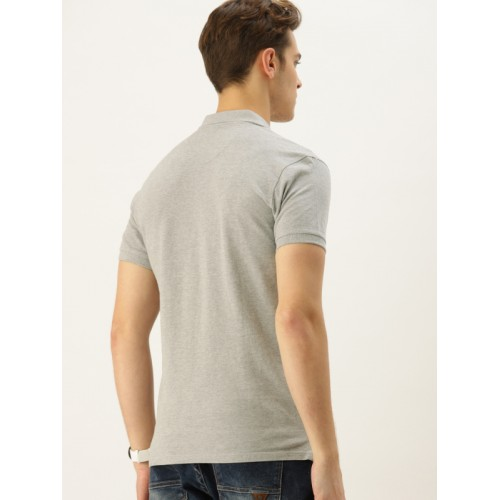 United Colors of Benetton Men Grey Melange Solid Polo T-shirt