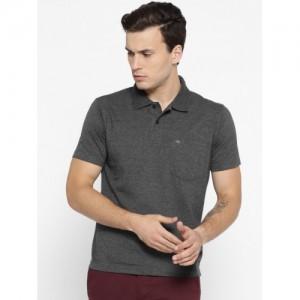 Monte Carlo Men Charcoal Grey Solid Polo Collar T-shirt