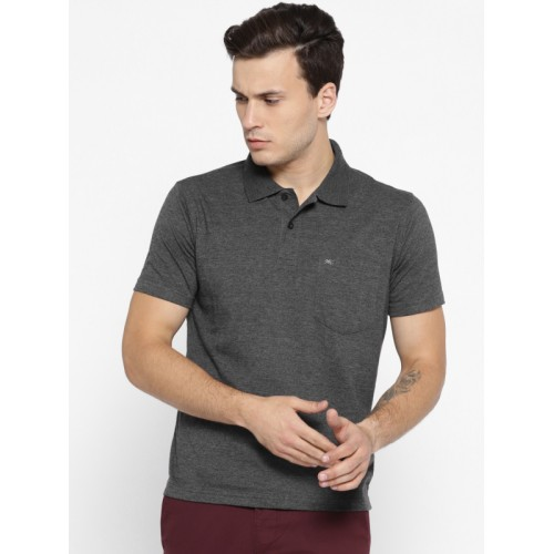 Monte Carlo Men Charcoal Grey Solid Polo Collar T-shirt