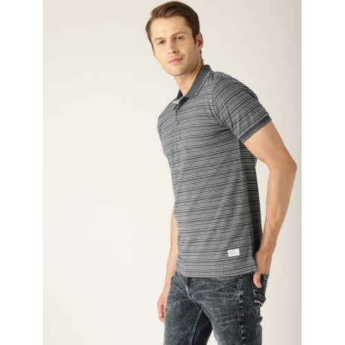 United Colors of Benetton Men Grey Striped Polo Collar T-shirt