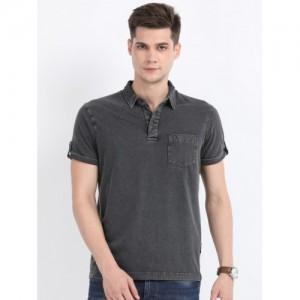 Indian Terrain Men Grey Solid Regular Fit Polo Collar T-shirt