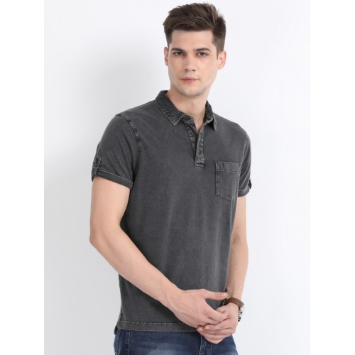 Indian Terrain Men Grey Solid Regular Fit Polo Collar T-shirt