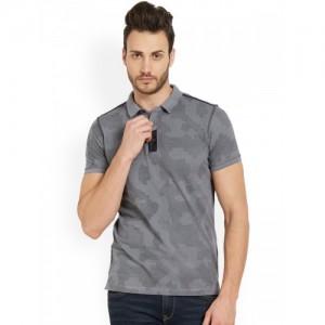 SPYKAR Men Grey Self Design Polo Collar T-shirt
