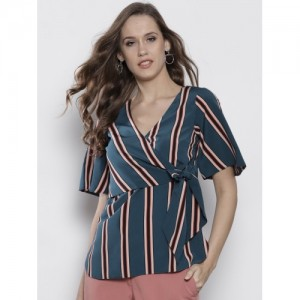 DOROTHY PERKINS Women Teal Green Striped Wrap Top