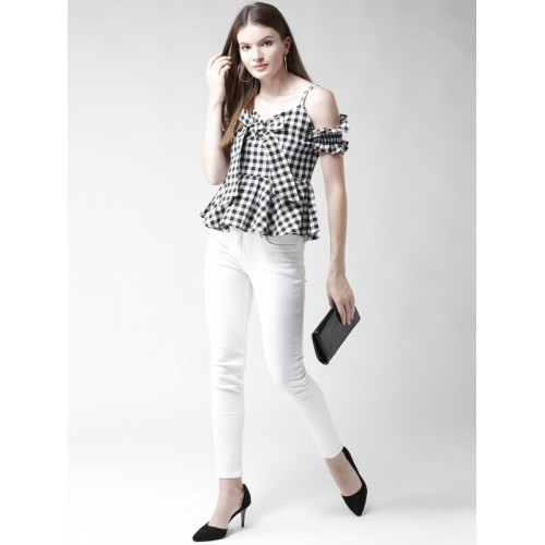 4106afeb52113 Buy WoowZerz Women Black   White Checked Cold Shoulder Peplum Top ...