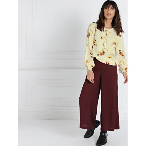 all about you from Deepika Padukone Women Cream-Coloured Printed Blouson Top
