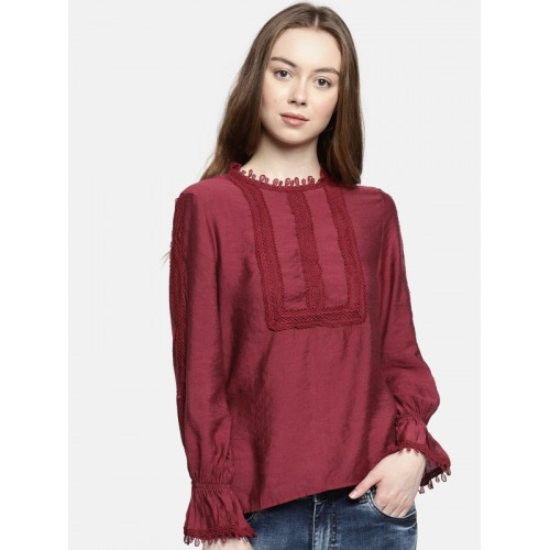 Deal Jeans Women Burgundy Solid Top