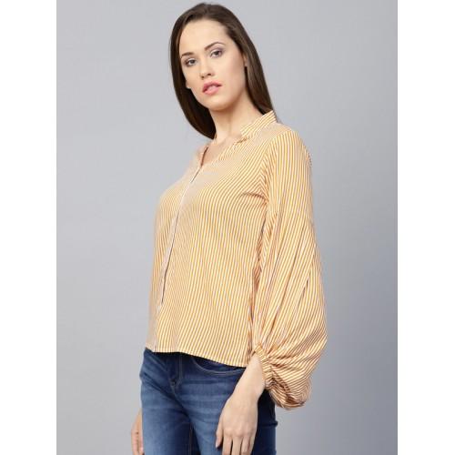 c2986e5d412dc ... Top  Athena Women Mustard Yellow   Off-White Striped Shirt Style ...