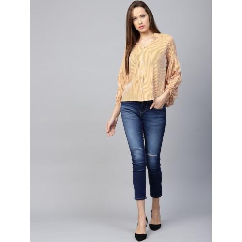 b8ce55aa2c196 Buy Athena Women Mustard Yellow   Off-White Striped Shirt Style Top ...