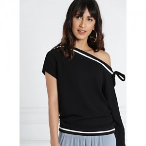 all about you Black One-Shoulder Top