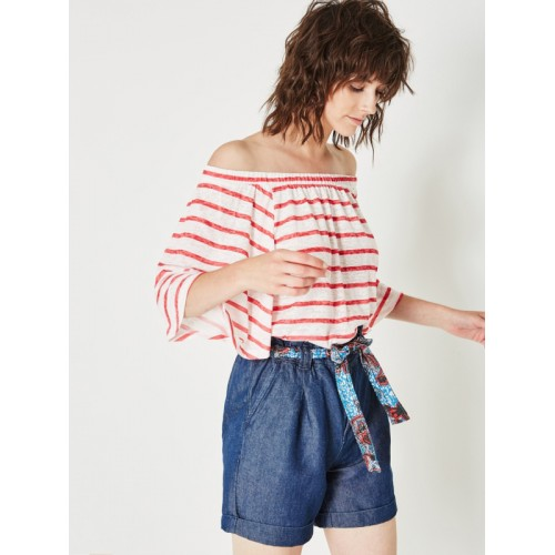 promod Women Off-White Striped Styled Back Top