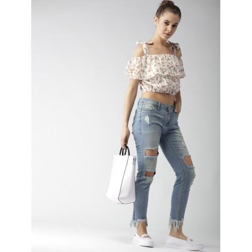 FOREVER 21 Women White Printed Crop Blouson Top