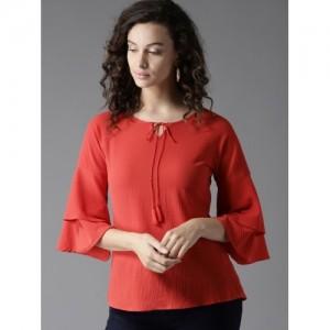 Moda Rapido Women Red Solid Top