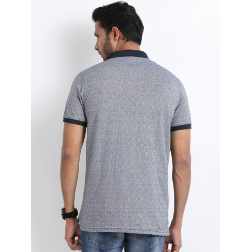 Indian Terrain Men Grey Printed Polo Collar T-shirt