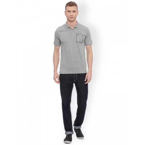 Solly Sport by Allen Solly Men Grey Solid Polo Collar T-shirt
