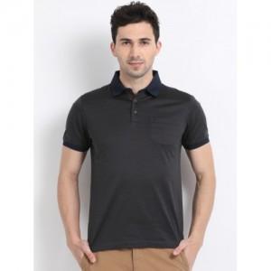Indian Terrain Men Charcoal Striped Polo Collar T-shirt