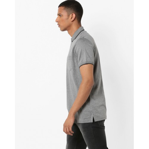INDIAN TERRAIN Heathered Polo T-shirt with Patch Pocket