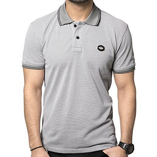 Zeyo Grey Cotton Regular Fit Classic Polo T Shirts