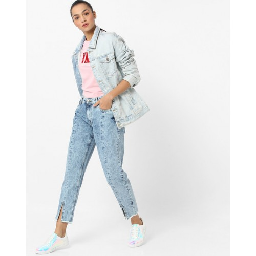 DNMX Ankle-Length Panelled Jeans with Frayed Hems
