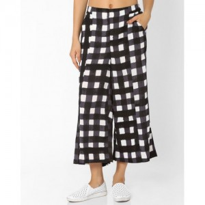 AJIO Checked Soft Moss Palazzo Pants