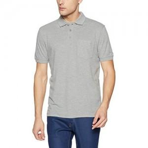 John Players Grey Cotton Regular Fit Polo  T-Shirts