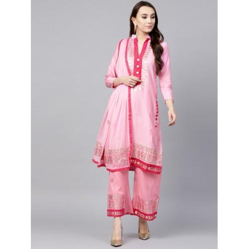 ... Saree mall Pink Cotton Blend Gota Patti Unstitched Dress Material ... 8990ff7fd
