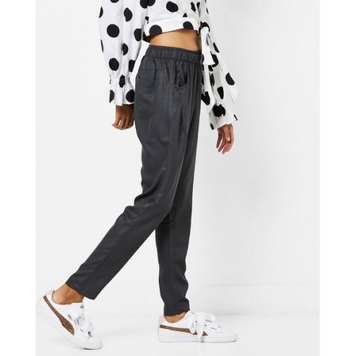 AJIO Textured High-Waist Pants